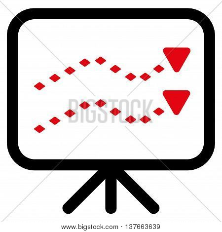 Dotted Trends Board vector toolbar icon. Style is bicolor flat icon symbol, intensive red and black colors, white background, rhombus dots.