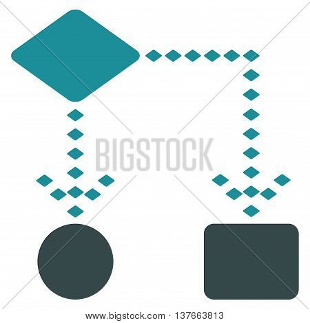 Algorithm Scheme vector toolbar icon. Style is bicolor flat icon symbol, soft blue colors, white background, rhombus dots.