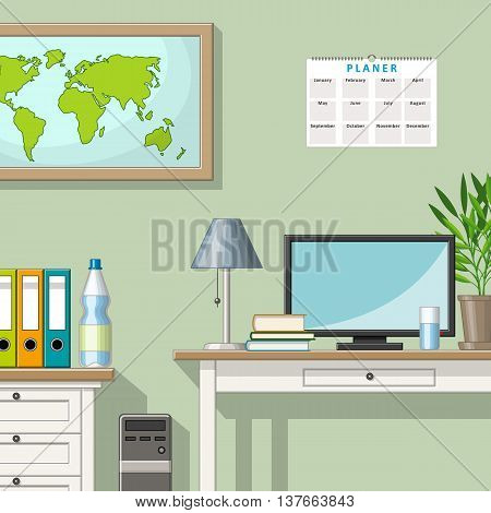 Illustration of a classic homeoffice with some utensil