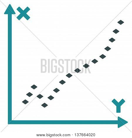 Dotted Function Plot vector toolbar icon. Style is bicolor flat icon symbol, soft blue colors, white background, rhombus dots.