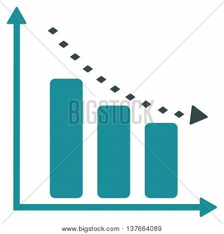 Dotted Negative Trend vector toolbar icon. Style is bicolor flat icon symbol, soft blue colors, white background, rhombus dots.