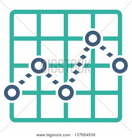 Dotted Line Grid Plot vector toolbar icon. Style is bicolor flat icon symbol, cobalt and cyan colors, white background, rhombus dots.