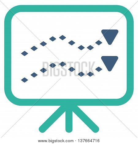 Dotted Trends Board vector toolbar icon. Style is bicolor flat icon symbol, cobalt and cyan colors, white background, rhombus dots.