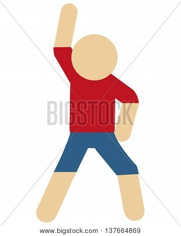 simple flat design person stretching pictogram icon vector illustration
