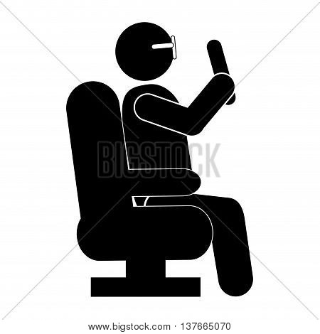 simple flat design person sitting down pictogram icon vector illustration