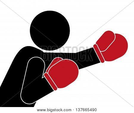 simple flat design boxing person pictogram icon vector illustration