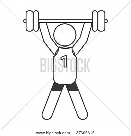 simple flat design weight lifting pictogram icon vector illustration