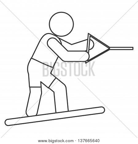 simple flat design water skiing pictogram icon vector illustration