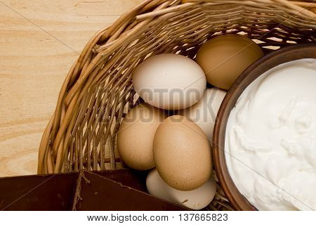 Ingredients for tiramisu on a wooden background