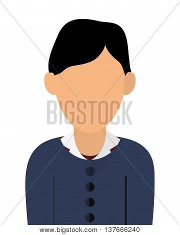 simple flat design faceless black hair woman portrait icon vector illustration