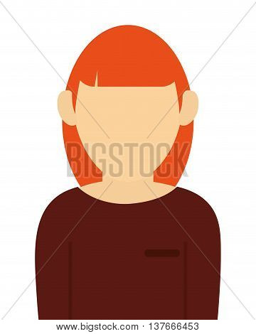 simple flat design faceless red hair woman portrait icon vector illustration