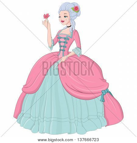 Rococo lady in pink dress. Vector illustration isolated on white background.