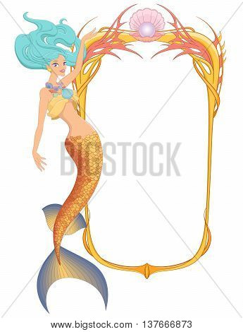 Beautiful mermaid with frame. Vector illustration isolated on white background.