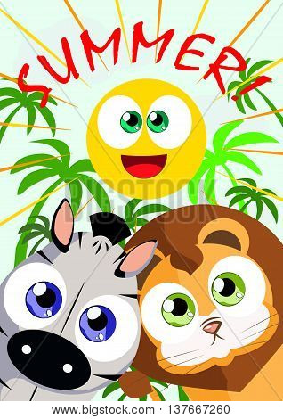 Banner in the style of children's cartoon on the theme of the summer with the image of animals