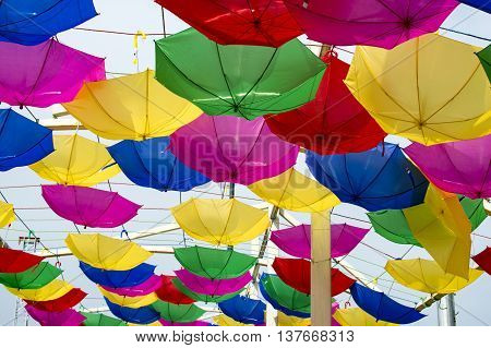 Hanging Reversed Umbrellas