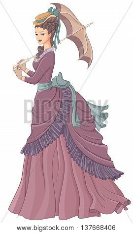 Antique dressed lady with umbrella. Victorian style fashion vector illustration isolated on white background.