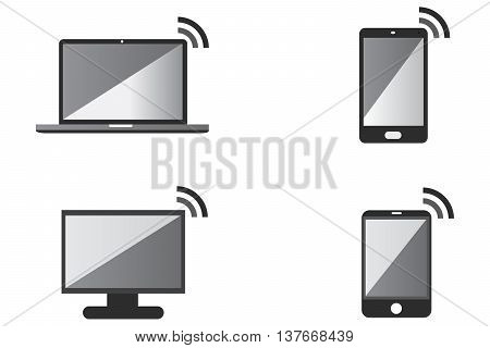 Laptop, mobile phone, tablet, monitor and wireless network icon