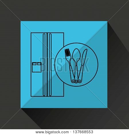 kitchen tools food Cookware fridge isolated, vector illustration