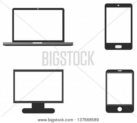 Laptop mobile phone tablet monitor icon electronics