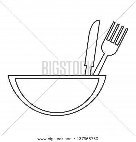 simple flat design bowl with eating utensils icon vector illustration