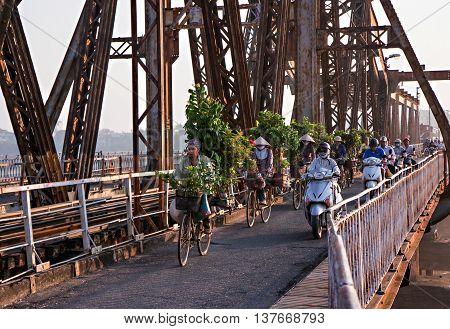 HA NOI, VIET NAM, April 30, 2016 Long Bien Bridge architecture, built by the French, Hong River crossing, downtown, Ha Noi, Vietnam