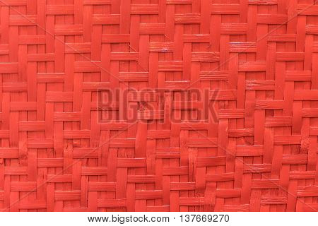 Red wooden Bamboo Weave matting background texture