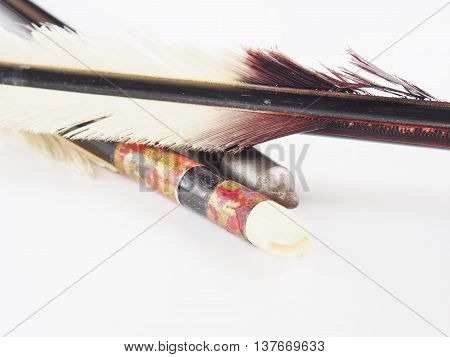 Old arrow of Japanese archery on white background