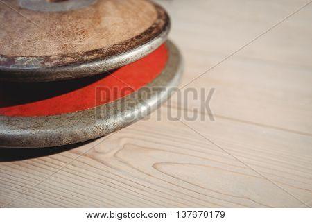 Close up of discuses on wooden background