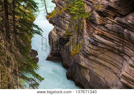 Layered Rocks on the banks of the North Saskatchewan River in Alberta Canada