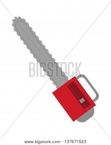flat design single chainsaw icon vector illustration