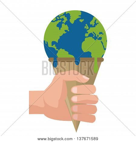simple flat design planet earth melting icon vector illustration