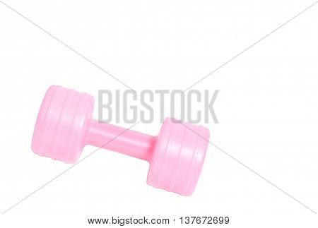 dumbbell weight isolated on white background copyspace