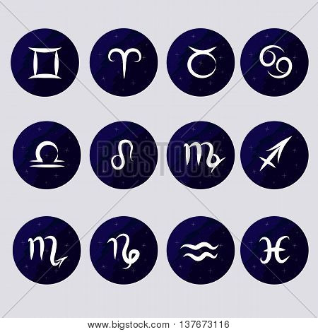 Set icons - illustrations on the theme of the zodiac on a galactic theme