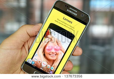 MONTREAL CANADA - JULY 1 2016 - Snapchat lenses on android cell smartphone. Snapchat is a mobile messaging application used to share photos videos text and drawings.