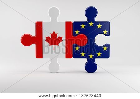 3d illustration Puzzle pieces as Symbol for the Relationship between Canada and the EU