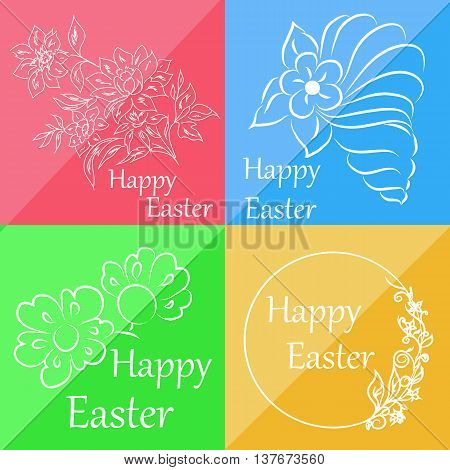 Set of four cards that can be used for congratulation on Easter or accompanying card to gift and for other purposes
