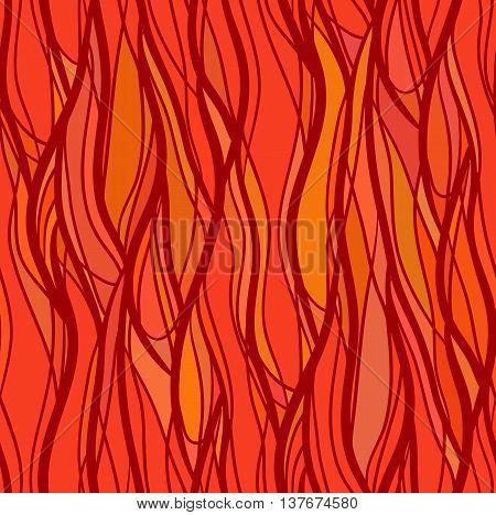 Seamless texture with intertwined wavy lines. Spurts of flame. Vector background for your creativity