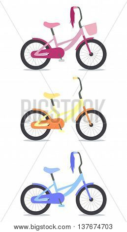 Set of flat vector illustrations of children's bicycles