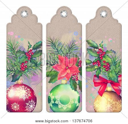 Set of Christmas decorative tags or bookmarks with watercolor compositions