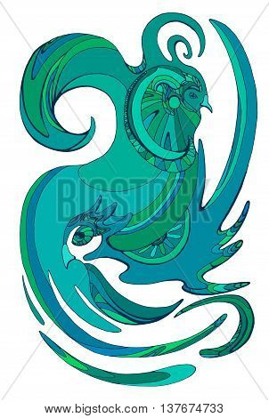 Vector abstract illustration of bird of paradise. Pair of birds