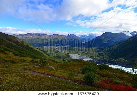 Landscape View Of Exit Glacier Area At Kenai Fjords National Park Alaska Usa