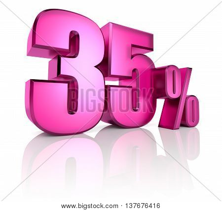 Pink thirty five percent sign isolated on white background. 3d rendering
