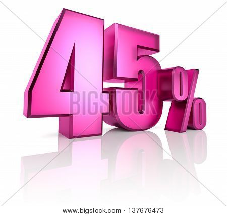 Pink forty five percent sign isolated on white background. 3d rendering
