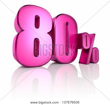 Pink eighty percent sign isolated on white background. 3d rendering