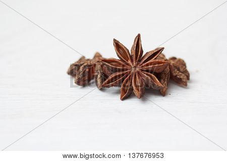 Stars of anise isolated on white background