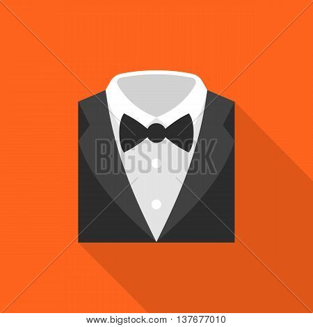 formal suit icon, flat design with long shadow