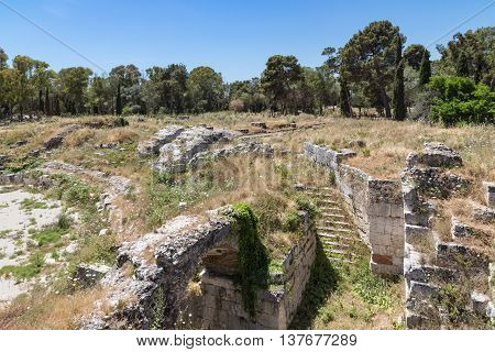 Archaeological Park of Neapolis at Syracusa Sicily Italy