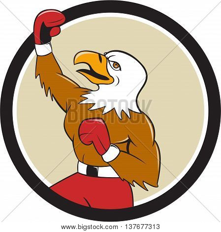Illustration of a bald eagle boxer pumping fist in the air looking up viewed from the side set inside circle done in cartoon style.