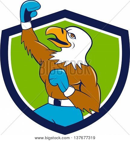 Illustration of a bald eagle boxer pumping fist in the air looking up viewed from the side set inside shield crest done in cartoon style.