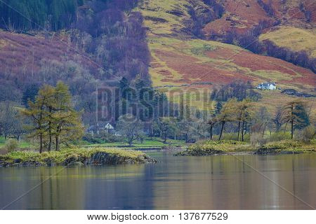 Spring colours in the Scottish Highlands across a loch at Glencoe